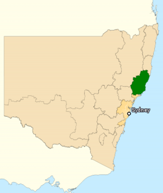 Division of Lyne - Division of Lyne in New South Wales, as of the 2016 federal election.