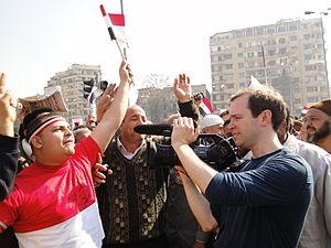 Matthew O'Neill (filmmaker) - Matthew O'Neill filming in Tahrir Square, 2011