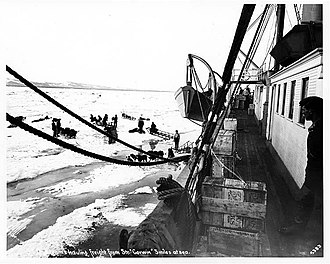 USRC Thomas Corwin (1876) - Dogsleds viewed from the Corwin during unloading, 5 miles off shore, June 1, 1907; F.H. Nowell