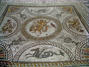 Fishbourne Roman Palace - The Cupid on a Dolphin mosaic
