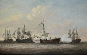 Dominic Serres - The desperate plight of the Monmouth at the close of the action with three French ships off Providien, Ceylon, on 12th April 1782.jpg