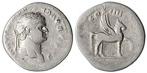 Pegasus - Silver Denarius of Domitian with Pegasus on the reverse. Dated 79-80 AD.