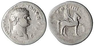 Pegasus - Silver Denarius of Domitian with Pegasus on the reverse. Dated 79-80 AD.