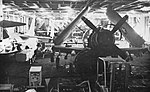 Douglas A-1H Skyraider of VA-215 in hangar of USS Hancock (CVA-19), circa in 1966.jpg