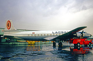 Avianca Costa Rica - LACSA Douglas DC-6B freighter at Miami International Airport in 1971