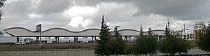 Dublin/Pleasanton station - The Dublin / Pleasanton BART station canopy roof, as seen from Owens Drive in Pleasanton