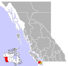 Location of Duncan in British Columbia