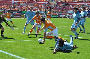 Colorado Rapids - The Rapids (in pale blue) in action against Houston Dynamo in 2009