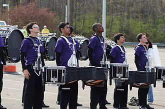 Drummer - A marching drum line warming up, 2011