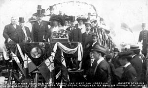 Charles Douglas (mayor) - Governor-General Earl Grey (center) and Mayor Douglas (on Lady Gray's left) at the opening of the new Granville Street Bridge, Vancouver, 6 September 1909