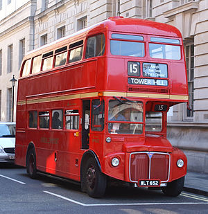 East London (bus company) - AEC Routemaster on Heritage route 15 on Whitehall in August 2007