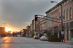 East Main Street at Broadway Avenue Urbana, IL sunset.jpg