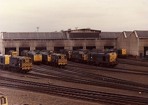 Eastfield TMD - A mixture of diesel locomotives stabled at the depot in 1979