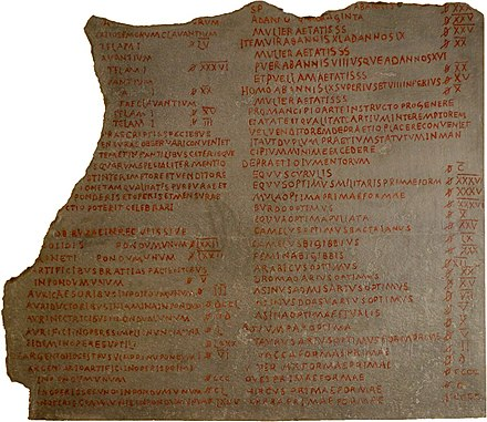 A fragment of the Edict on Maximum Prices (301), on display in Berlin Edict on Maximum Prices Diocletian piece in Berlin.jpg