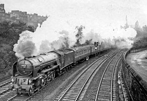 Edinburgh Waverley railway station - Aberdeen express leaving Edinburgh Waverley in 1957