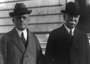 Pan American Petroleum and Transport Company - Edward L. Doheny poses with his lawyer Frank J. Hogan in this 1924 photo