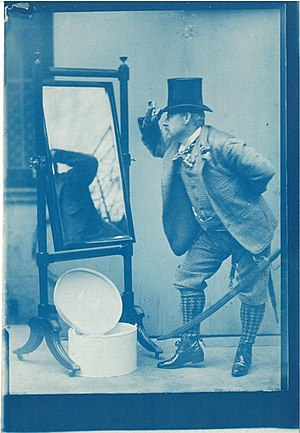 Edward Linley Sambourne - Self portrait of Linley Sambourne modelling (10 January 1895) for Punch cartoon 'Quite English, You Know!