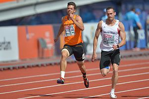 Austria at the 2016 Summer Olympics - Dominik Distelberger (right) racing against Eelco Sintnicolaas (left) in the 2016 European Athletics Championships