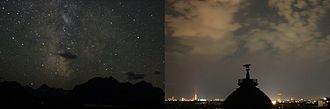 Skyglow - In remote areas on moonless nights clouds appear dark against the sky. In or near developed areas skyglow is strongly enhanced by clouds.