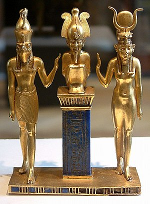 Osiris - The family of Osiris. Osiris on a lapis lazuli pillar in the middle, flanked by Horus on the left and Isis on the right (22nd dynasty, Louvre, Paris)