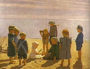 Einar Hein - Einar Hein: Children Playing on Skagen's Beach (1910)