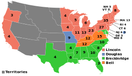 Map of the U.S. showing Lincoln winning the North-east and West, Breckinridge winning the South, Douglas winning Missouri, and Bell winning Virginia, West Virginia, and Kentucky.