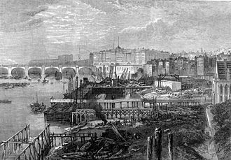 Thames Embankment - The Victoria Embankment under construction in 1865. Hungerford Bridge can be seen in the background.