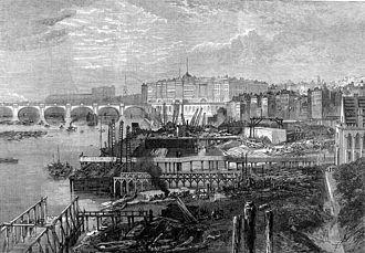 Victoria Embankment - Victoria Embankment under construction in 1865.