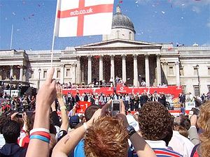 Paul Collingwood - The England team celebrate their 2005 Ashes victory in Trafalgar Square