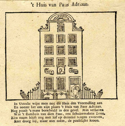 Engraving of the birthhouse of pope hadrian