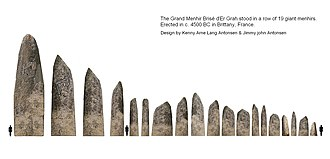 Locmariaquer megaliths - Artistic reconstruction of the Grand Menhir Er Grah with the 18 other menhirs in a row. c. 4500 BC.