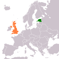 Map indicating locations of Estonia and United Kingdom