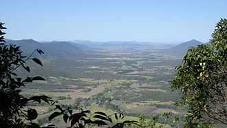 Finch Hatton, Queensland - The locality occupies part of the Cattle Creek valley (background)