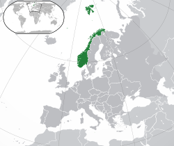 Location of  Norway  (dark green)in Europe  (dark grey)  —  [Legend]