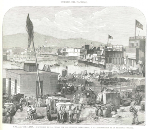 Bombardment of Callao - An image published on 30 January 1881 by La Ilustración Española y Americana shows Civilians leaving the port before the shelling. Several US flags have been raised to mark neutral soil.
