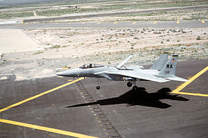 Air brake (aeronautics) - An F-15 lands with its large dorsal airbrake panel deployed.