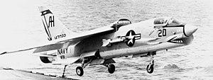 F-8C VF-111 over USS Intrepid (CVS-11) 1967.jpg