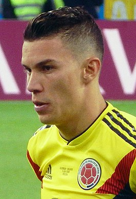 FWC 2018 - Round of 16 - COL v ENG - Mateus Uribe during the penalty shootout (cropped).jpg