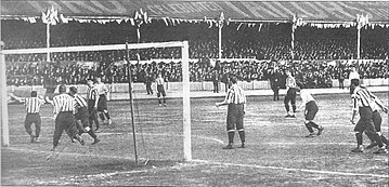 United conceding the third goal in the 1901 FA Cup Final against Tottenham Hotspur at Burnden Park in Bolton. Facupfinal1901-D.jpg