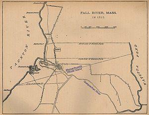 Quequechan River - 1812 Map of Fall River showing original location of Quequechan River