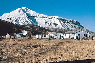 Aleutians East Borough, Alaska - An area in the city of False Pass, Alaska, looking north.