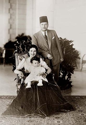 Liberalism in Egypt - King Farouk I, Queen Farida and their first-born daughter Princess Ferial ca. 1940
