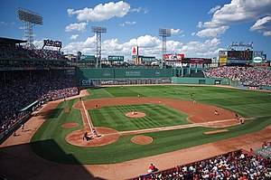 Comparison of baseball and cricket - A view of the playing field at Fenway Park in Boston