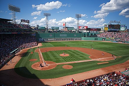 Fenway Park, home of the Boston Red Sox. The Green Monster is visible beyond the playing field on the left. Fenway from Legend's Box.jpg