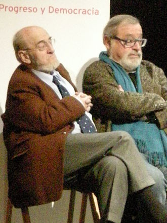 Union, Progress and Democracy - Álvaro Pombo (left) and Fernando Savater at a party meeting