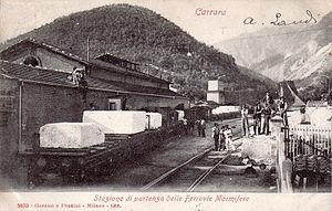 Avenza–Carrara railway - The cargo area of the station Carrara (vintage postcard)