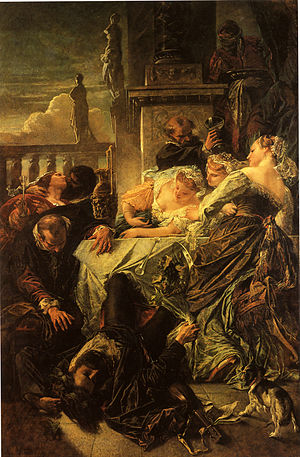 Death from laughter - Der Tod des Dichters Pietro Aretino by Anselm Feuerbach.