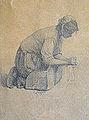"""Feyen J.E. - Pencil - Femme bretonne au lavoir (étude pour """"le lavoir de la Houle"""") - 13x18.5cm.jpg"""