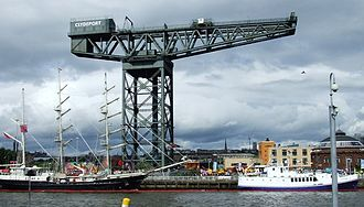 Finnieston Crane - The Finnieston Crane with a soldier abseiling from the tip