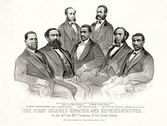 History of the United States Republican Party - First Colored Senator and Representatives: Sen. Hiram Revels (R-MS), Rep. Benjamin Turner (R-AL), Robert DeLarge (R-SC), Josiah Walls (R-FL), Jefferson Long (R-GA), Joseph Rainey and Robert B. Elliott (R-SC), 1872